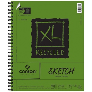 "Canson® XL® 9"" x 12"" Recycled Sketch Pad (Side Wire): Wire Bound, White/Ivory, Pad, 100 Sheets, 9"" x 12"", Medium, (model C100510922), price per 100 Sheets pad"