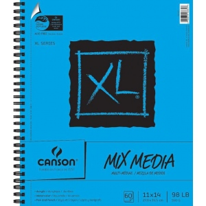 """Canson® XL® 11"""" x 14"""" Mix Media Pad (Side Wire); Binding: Wire Bound; Color: White/Ivory; Format: Pad; Quantity: 60 Sheets; Size: 11"""" x 14""""; (model C100510929), price per 60 Sheets pad"""