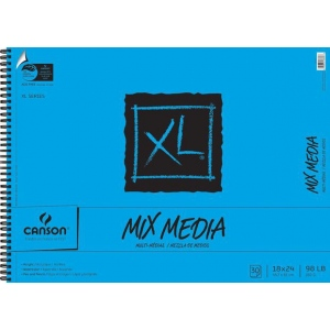 """Canson® XL® 18"""" x 24"""" Mix Media Pad (Side Wire): Wire Bound, White/Ivory, Pad, 30 Sheets, 18"""" x 24"""", (model C100510931), price per 30 Sheets pad"""