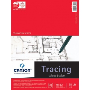 "Canson® Foundation Series 9"" x 12"" Tracing Paper Pad: Fold Over, White/Ivory, Pad, 50 Sheets, 9"" x 12"", Smooth, (model C100510960), price per 50 Sheets pad"