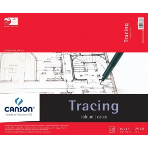 """Canson® Foundation Series 14"""" x 17"""" Tracing Paper Pad; Binding: Fold Over; Color: White/Ivory; Format: Pad; Quantity: 50 Sheets; Size: 14"""" x 17""""; Texture: Smooth; (model C100510962), price per 50 Sheets pad"""