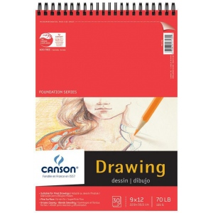 "Canson® Foundation Series 9"" x 12"" Wire Bound Drawing Pad: Wire Bound, White/Ivory, Pad, 30 Sheets, 9"" x 12"", Fine, (model C100510978), price per 30 Sheets pad"