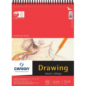 """Canson® Foundation Series 11"""" x 14"""" Foundation Drawing Pad; Binding: Wire Bound; Color: White/Ivory; Format: Pad; Quantity: 30 Sheets; Size: 11"""" x 14""""; Texture: Fine; (model C100510979), price per 30 Sheets pad"""
