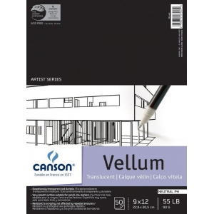 """Canson® Artist Series 9"""" x 12"""" Vellum Sheet Pad: Fold Over, White/Ivory, Pad, 50 Sheets, 9"""" x 12"""", Smooth, (model C100510983), price per 50 Sheets pad"""