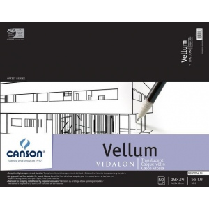 """Canson® Artist Series 19"""" x 24"""" Vellum Sheet Pad; Binding: Fold Over; Color: White/Ivory; Format: Pad; Quantity: 50 Sheets; Size: 19"""" x 24""""; Texture: Smooth; (model C100510986), price per 50 Sheets pad"""