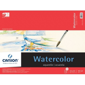 "Canson® Foundation Series 15"" x 20"" Watercolor Cold Press 15-Sheet Pad; Binding: Fold Over; Color: White/Ivory; Format: Pad; Quantity: 15 Sheets; Size: 15"" x 20""; Texture: Cold Press; (model C100511025), price per 15 Sheets pad"