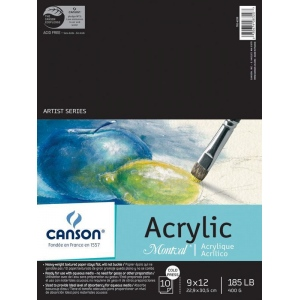 """Canson® Montval® 9"""" x 12"""" Acrylic Sheet Pad; Binding: Fold Over; Color: White/Ivory; Format: Pad; Quantity: 10 Sheets; Size: 9"""" x 12""""; Type: Acrylic; (model C100511035), price per 10 Sheets pad"""