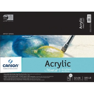 """Canson® Montval® 12"""" x 16"""" Acrylic Sheet Pad; Binding: Fold Over; Color: White/Ivory; Format: Pad; Quantity: 10 Sheets; Size: 12"""" x 16""""; Type: Acrylic; (model C100511036), price per 10 Sheets pad"""