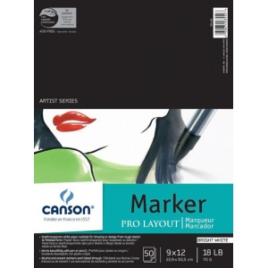 "Canson® Artist Series 9"" x 12"" Marker Sheet Pad; Binding: Fold Over; Color: White/Ivory; Format: Pad; Quantity: 50 Sheets; Size: 9"" x 12""; (model C100511047), price per 50 Sheets pad"