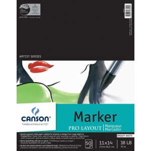 "Canson® Artist Series 11"" x 14"" Marker Sheet Pad: Fold Over, White/Ivory, Pad, 50 Sheets, 11"" x 14"", (model C100511048), price per 50 Sheets pad"