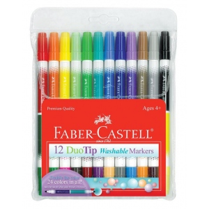 Faber-Castell® DuoTip Washable 12 Marker Set; Double-Ended: Yes; Ink Type: Water-Based; Type: Washable; (model FC153012), price per set