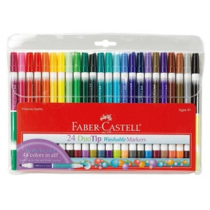 Faber-Castell® DuoTip Washable 24 Marker Set; Double-Ended: Yes; Ink Type: Water-Based; Type: Washable; (model FC153024), price per set