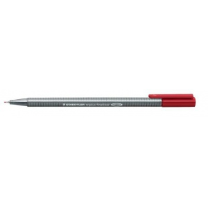 Staedtler® Triplus® Carmine Fineliner Pen ; Color: Red/Pink; Tip Size: .3mm; Tip Type: Fine Nib; Type: Technical; (model 334-29), price per each