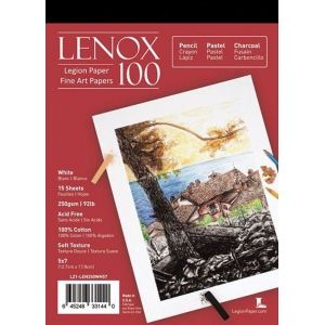 "Lenox 100 Cotton Printing & Drawing Paper Pad 5"" x 7""; Color: White/Ivory; Format: Pad; Quantity: 15 Sheets; Size: 5"" x 7""; Texture: Medium; Type: Drawing; (model L21-LEN250WH57), price per 15 Sheets pad"