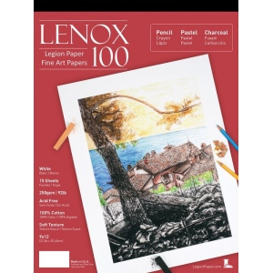 """Lenox 100 Cotton Printing & Drawing Paper Pad 9"""" x 12""""; Color: White/Ivory; Format: Pad; Quantity: 15 Sheets; Size: 9"""" x 12""""; Texture: Medium; Type: Drawing; (model L21-LEN250WH912), price per 15 Sheets pad"""