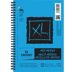 "Canson® XL® 5 1/2"" x 8 1/2"" Mix Media Pad (Side Wire); Binding: Wire Bound; Color: White/Ivory; Format: Pad; Quantity: 60 Sheets, 60 Steets; Size: 5 1/2"" x 8 1/2""; Texture: Fine; Type: Mixed Media; Weight: 98 lb; (model C400037134), price per 60 Sheets pad"