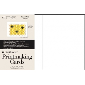 "Strathmore® Full Size Printmaking Cards 50-Pack; Color: White/Ivory; Format: Card; Quantity: 50 Cards; Size: 5"" x 6 7/8""; Texture: Medium; Weight: 280 g; (model ST105-233), price per 50 Cards"