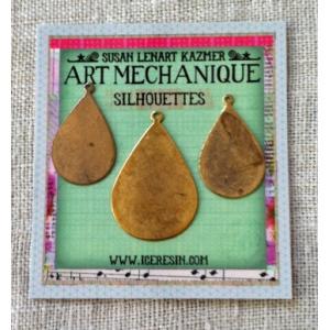 Ranger - ICE Resin - Art Mechanique Brass Silhouette Blanks - Teardrops - 3 Pieces