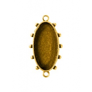 Ranger - ICE Resin - Mixed Metal Bezels - Hobnail Oval - Small - Antique Brass - 2 Bezels