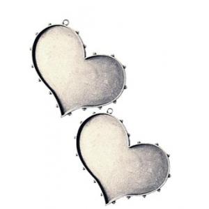 Ranger - ICE Resin - Mixed Metal Bezels - Hobnail Heart - Small - Antique Silver - 2 Bezels