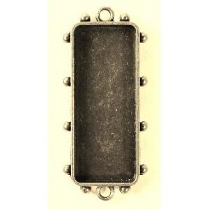 Ranger - ICE Resin - Mixed Metal Bezels - Hobnail Long Rectangle - Medium - Antique Silver - 1 Bezel