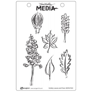 Ranger - Dina Wakley Media - Cling Stamps - Scribbly Leaves and Pods