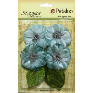 Petaloo - Vintage Velvet Peonies x 4 - Teal
