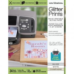 Glitter Prints - Inkjet Printable Glitter Paper - 8.5x11 Assorted