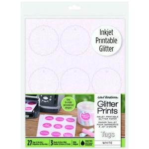 Glitter Prints - Inkjet Printable Glitter Tags - White Scallop Circle