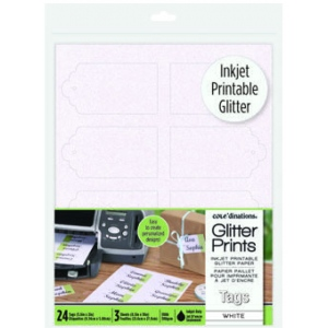 Glitter Prints - Inkjet Printable Glitter Tags - White Scallop Tags
