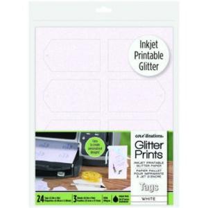 Glitter Prints - Inkjet Printable Glitter Tags - White Standard Tags