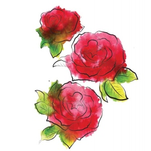 Rubbernecker Stamps - 3 Roses Stamp Set