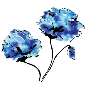 Rubbernecker Stamps - Blue Flowers Stamp Set