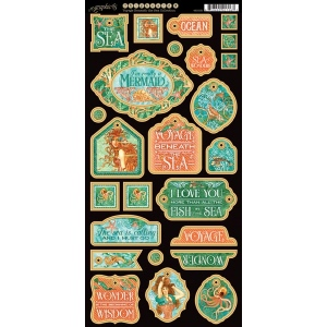 Graphic 45 - Voyage Beneath the Sea - Decorative Chipboard