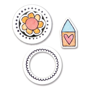 Sizzix - Framelits Die Set 4 Pack with Stamps - Circles & Icons - Flower & House by Stephanie Ackerman