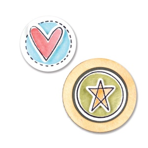 Sizzix - Framelits Die Set 5 Pack with Stamps - Circles & Icons - Hearts & Star by Stephanie Ackerman