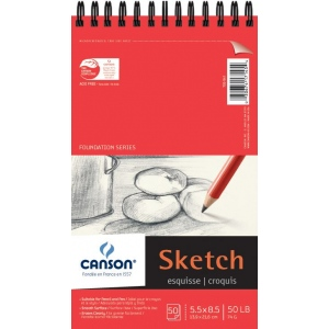 """Canson® Foundation Series 5.5"""" x 8.5"""" Wire Bound Sketch Pad; Binding: Wire Bound; Color: White/Ivory; Format: Pad; Quantity: 50 Sheets; Size: 5 1/2"""" x 8 1/2""""; Texture: Smooth; (model C100511028), price per 50 Sheets pad"""