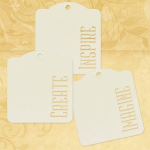 Graphic 45 - Staples - Inspire Create Imagine - Ivory Tags