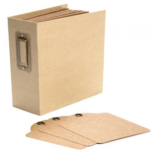 Graphic 45 - Staples - Square Tag & Pocket Album - Kraft