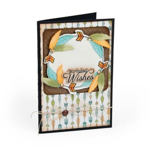 Sizzix - Framelits Die Set 6 Pack with Stamps - Feather Wreath by Jen Long
