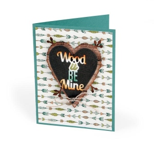 Sizzix - Thinlits Die Set 6 Pack - Phrase - Wood U Be Mine by Jen Long