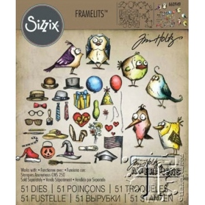 Sizzix - Tim Holtz Alterations - Framelits Die Set 51 Pack - Mini Bird Crazy & Things