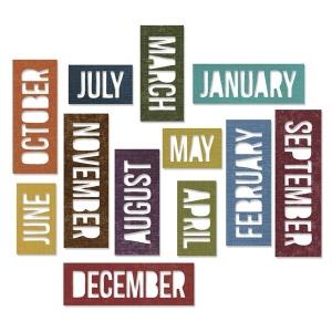 Sizzix - Tim Holtz Alterations - Thinlits - Calendar Words - Block Die Set 12 Pack