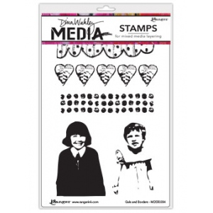 Ranger - Dina Wakley Media - Cling Stamps - Gals And Borders