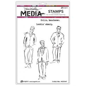 Ranger - Dina Wakley Media - Cling Stamps - Scribbly Fellas
