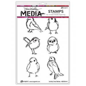 Ranger - Dina Wakley Media - Cling Stamps - Scribbly Small Birdies