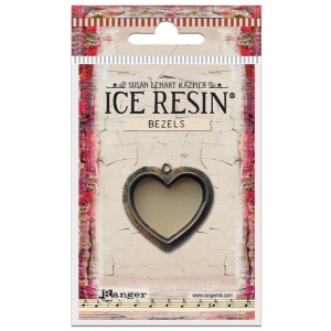Ranger - ICE Resin - Milan Bezels Closed Back - Antique Silver - Heart - Large