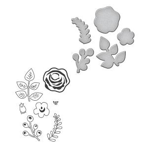 Spellbinders - Stamp/Die Set - Quite Contrary - Debi Adams - Floral Divine