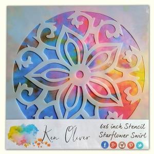 Ken Oliver - Stencil - 6x6 - Starflower Swirl