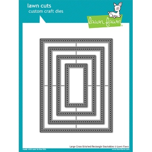 Lawn Fawn - Lawn Cuts - Large Cross Stitched Rectangle Stackables Dies
